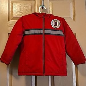 Gymboree boys winter fire fighter jacket 4T red